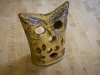 handbuilt owl votive holder
