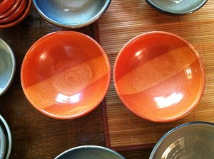 shino glaze, center stripe bowls
