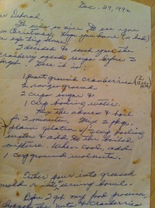 handwritten recipe for cranberries
