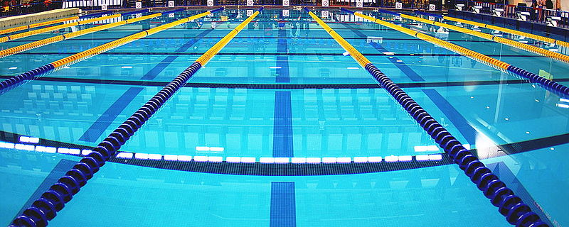 swimming pool with lane ropes and lines